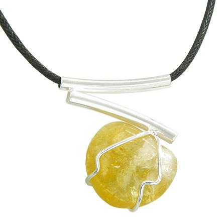 Brazilian Lucky Charm Tumbled Citrine Crystal Silver Electroplated V Style Tubes Necklace
