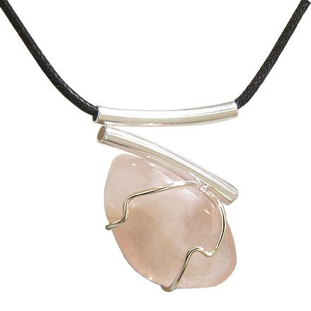 Brazilian Lucky Charm Tumbled Rose Quartz Crystal Silver Electroplated V Style Tubes Necklace