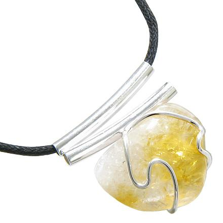 Brazilian Lucky Charm Tumbled Citrine Crystal Silver Electroplated Double Style Tubes Necklace