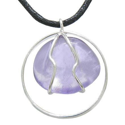 Brazilian Lucky Charm Tumbled Amethyst Crystal Silver Electroplated Eternity Circle Necklace