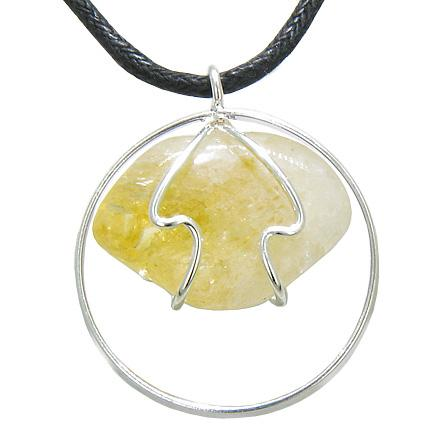 Brazilian Lucky Charm Tumbled Citrine Crystal Silver Electroplated Eternity Circle Necklace