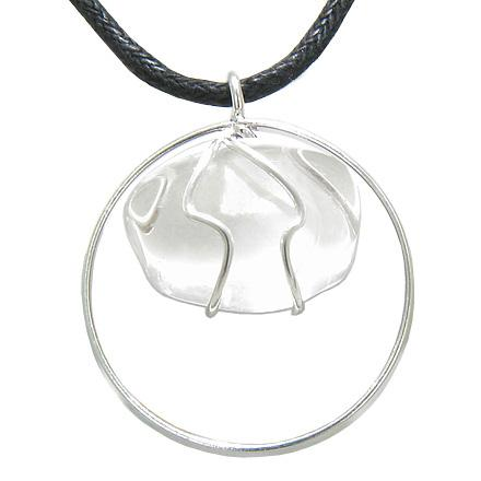 Brazilian Lucky Charm Tumbled Rock Quartz Crystal Silver Electroplated Eternity Circle Necklace