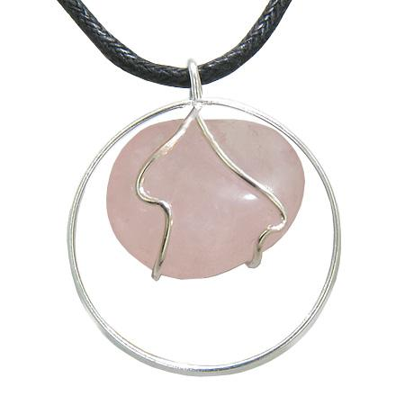 Brazilian Lucky Charm Tumbled Rose Quartz Crystal Silver Electroplated Eternity Circle Necklace