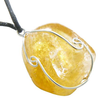 Brazilian Large Citrine Caged Gem Crystal Lucky Charm Business Attractor Amulet Pendant Necklace