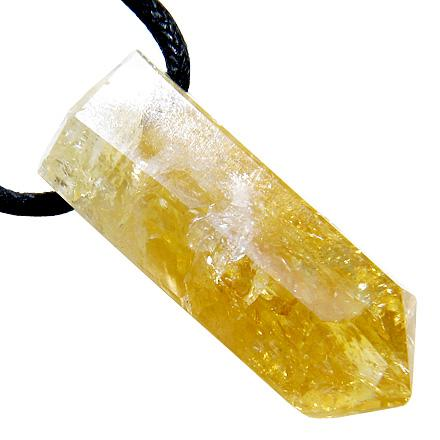 Brazilian Gem Lucky Crystal Point Terminated Citrine Business Attractor Amulet Pendant Necklace