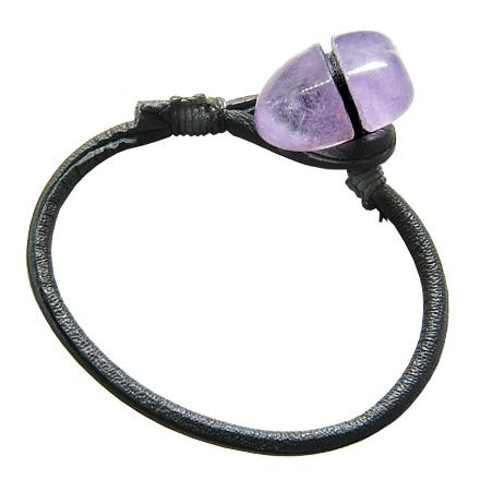 Brazilian Tumbled Amethyst Lucky Charm Amulet Genuine Leather Bracelet
