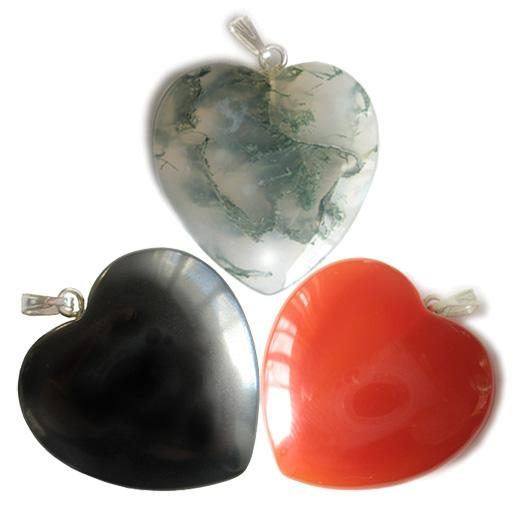 Triple Lucky Gemstone Heart Pendants Special