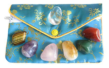 Lucky Chakra Talisman Gemstones In Teal Pouch