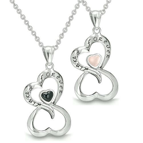 Amulets Infinity Love Couple Set Yin Yang Magic Symbol Eternity Powers Onyx Cats Eye Necklaces