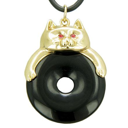 Fortune Cat Lucky Donut Spiritual Talisman Black Onyx Pendant Necklace