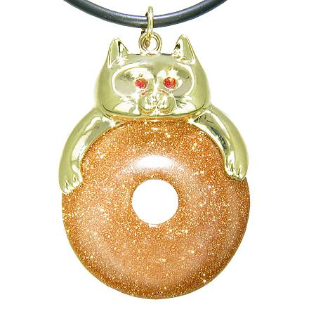 Fortune Cat Lucky Donut Good Luck Talisman Gold Stone Pendant Necklace