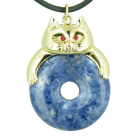 Fortune Cat Lucky Donut Good Luck Talisman Sodalite Pendant Necklace