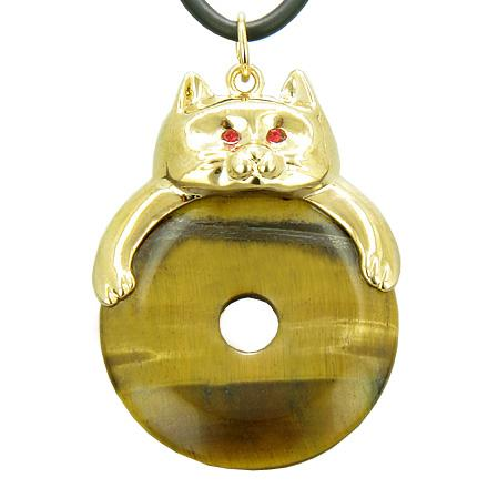 Fortune Cat Lucky Donut Protection Talisman Tiger Eye Pendant Necklace