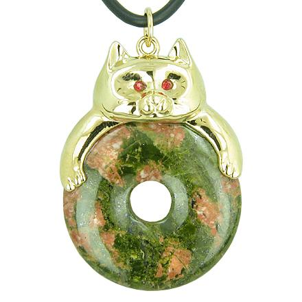 Fortune Cat Lucky Donut Spiritual Protection Talisman Unakite Pendant Necklace