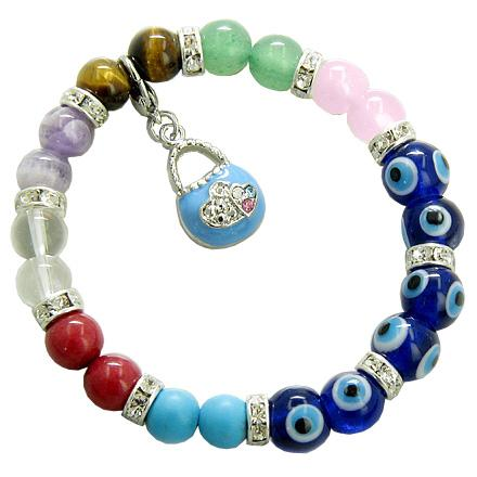 Chakra Gemstones and Evil Eye Swarovski Blue Eyes with Purse Charm Bracelet