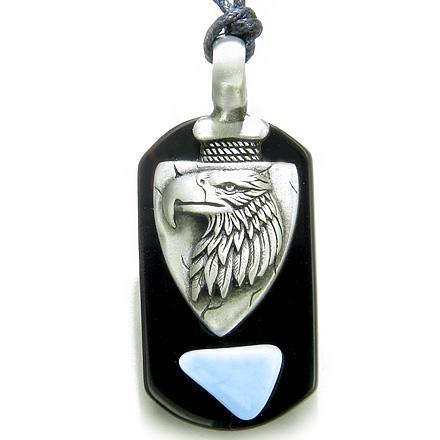 Arrowhead Eagle Tag Amulet Black Onyx and Blue Lace Agate Necklace