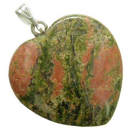 A Lucky Puffy Unakite Gemstone Heart Spiritual Protection Talisman Pendant