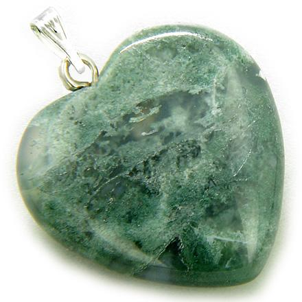 A Lucky Puffy Green Moss Agate Gemstone Heart Good Luck Talisman Pendant