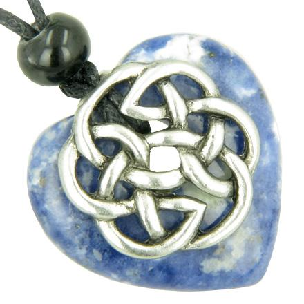 Amulet Celtic Shield Knot Puffy Heart Sodalite Gemstone Pendant Necklace