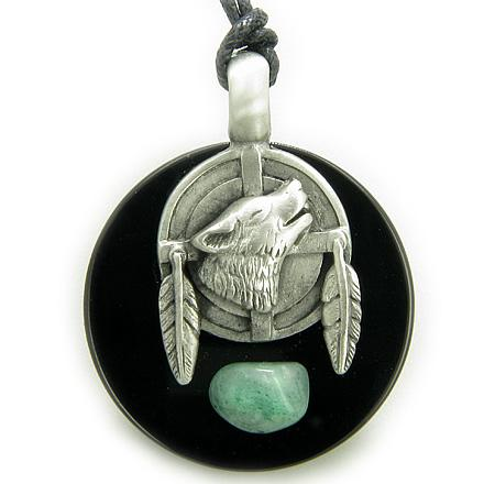 Amulet Wolf Feathers Circle Black Onyx and Green Aventurine Necklace