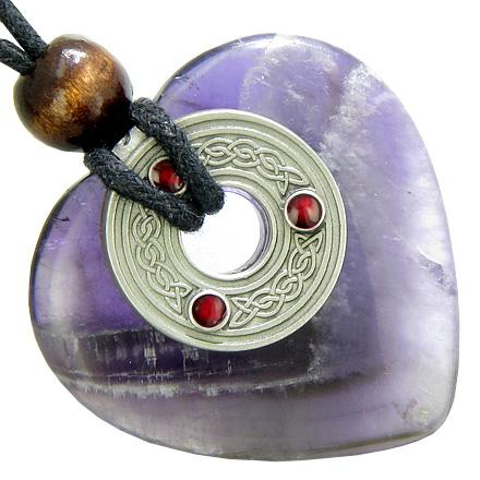 Celtic Triquetra Knot Protection Amulet Amethyst Gemstone Heart Pendant Necklace