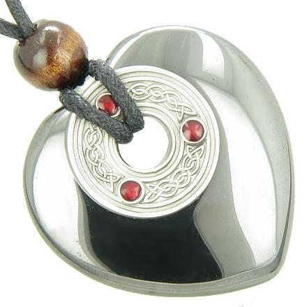 Celtic Triquetra Knot Protection Amulet Hematite Gemstone Heart Pendant Necklace