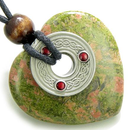 Celtic Triquetra Knot Protection Amulet Unakite Gemstone Heart Pendant Necklace