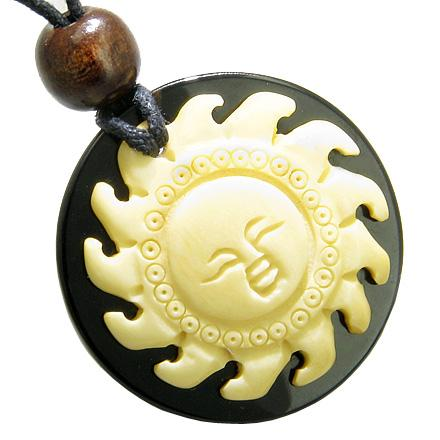 Amulet Positive Energy Happy Sun Natural Bone and Spiritual Black Onyx Circle Pendant Necklace