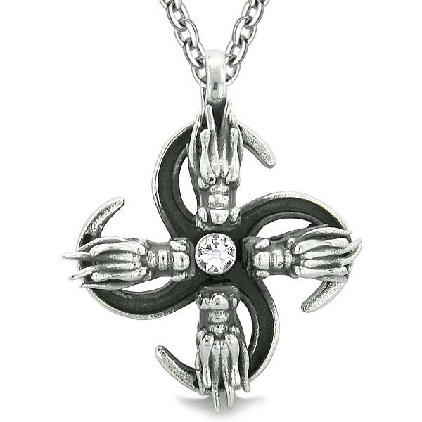 Supernatural Dragon Magic Powers All Forces of Nature Amulet White Crystal Pendant 18 inch Necklace