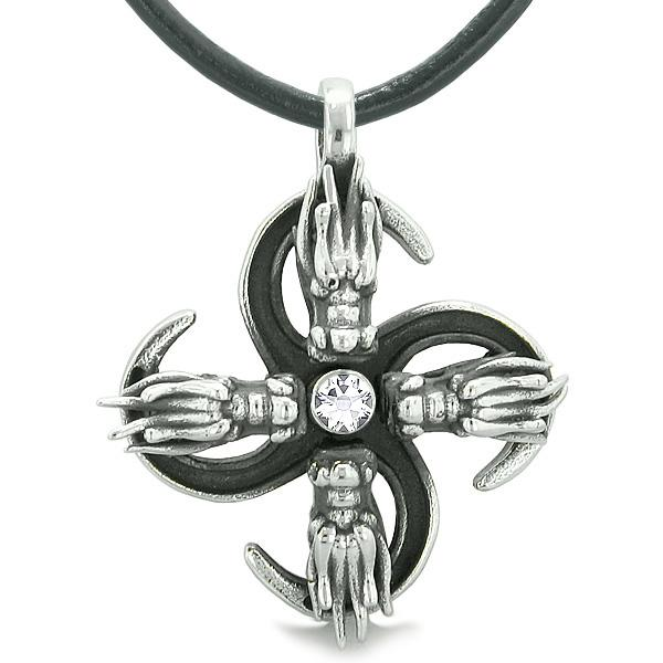 Supernatural Dragon Magic Powers All Forces of Nature Amulet White Crystal Pendant Leather Necklace