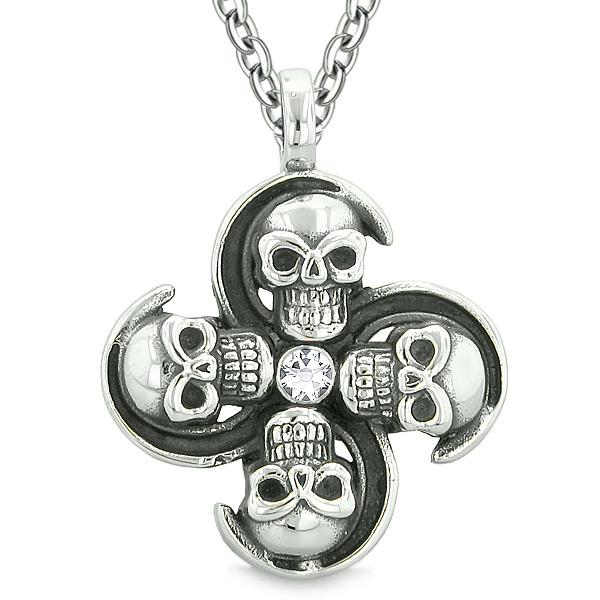 Supernatural Skull Powers Magic All Forces of Nature Amulet White Crystal Pendant 18 inch Necklace