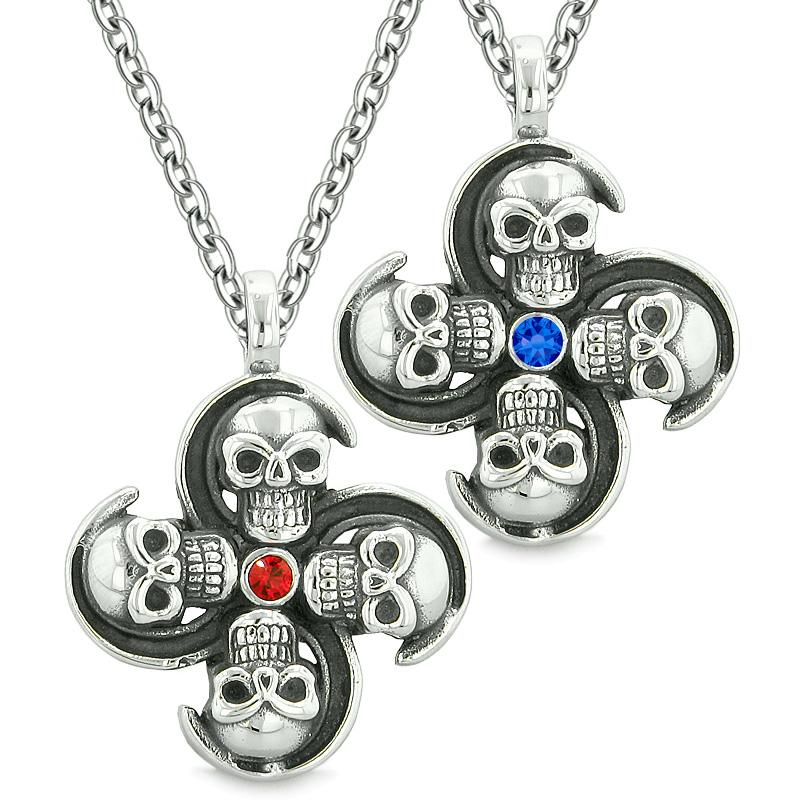 Supernatural Skull Amulet Powers Love Couples Best Friends Blue Red Crystals Pendant Necklaces