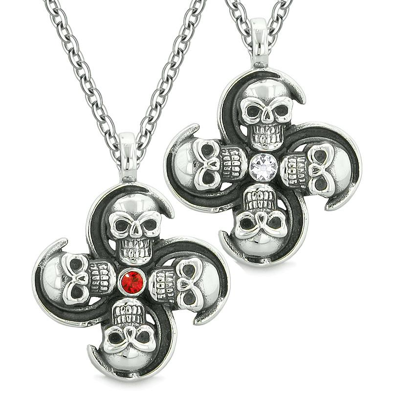 Supernatural Skull Amulet Powers Love Couples or Best Friends Red White Crystals Pendant Necklaces