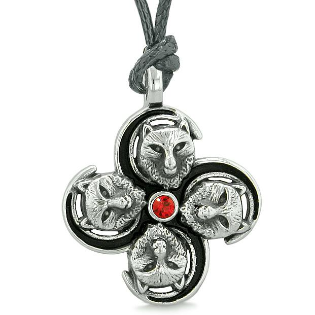Supernatural Wolf Courage Power All Forces of Nature Amulet Royal Red Crystal Pendant Necklace