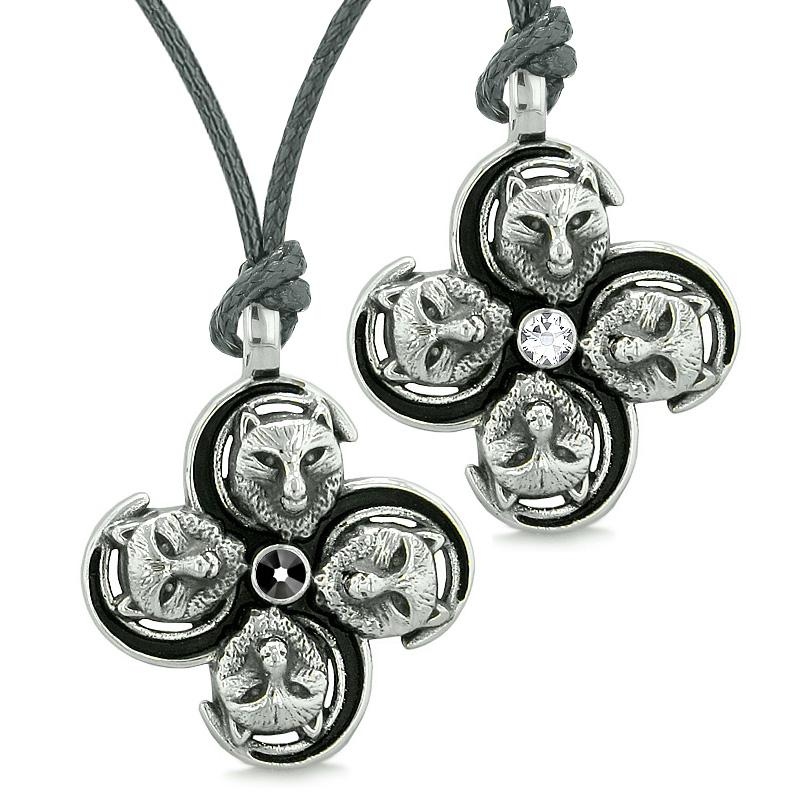 Supernatural Courage Wolf Amulets Love Couples Best Friends Black White Crystals Necklaces