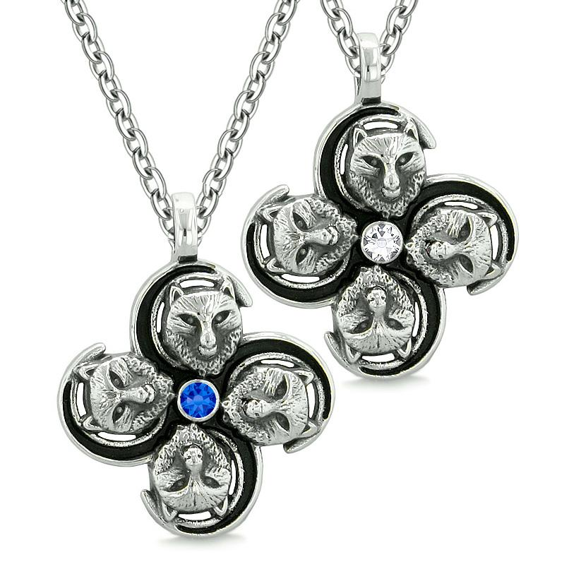 Supernatural Courage Wolf Amulets Love Couple Best Friends White Blue Crystals Pendant Necklaces