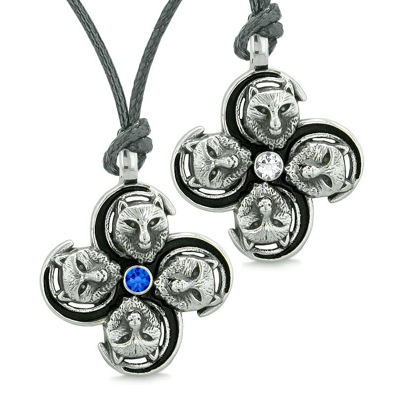 Supernatural Courage Wolf Amulets Love Couples Best Friends White Blue Crystal Adjustable Necklaces