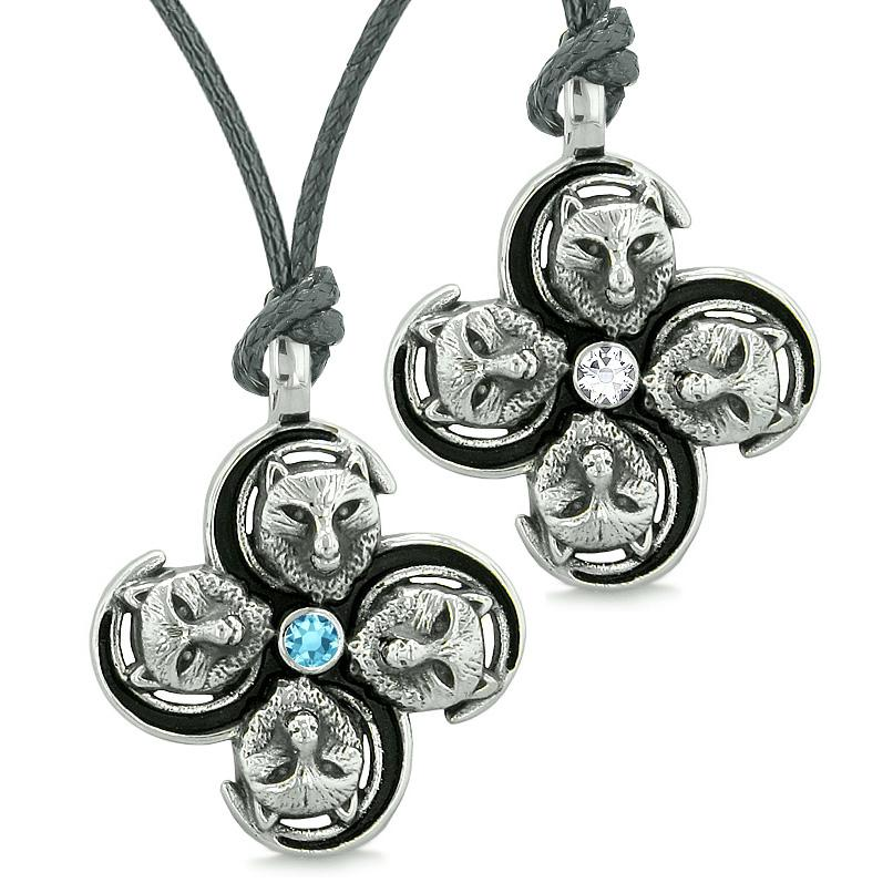 Supernatural Courage Wolf Amulets Love Couples Best Friends Blue White Crystals Necklaces