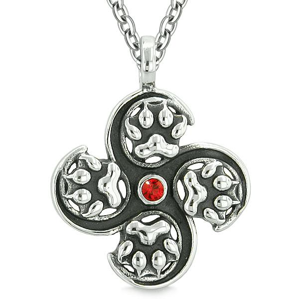 Supernatural Wild Wolf Paw All Forces of Nature Powers Amulet Cherry Red Crystal Pendant Necklace