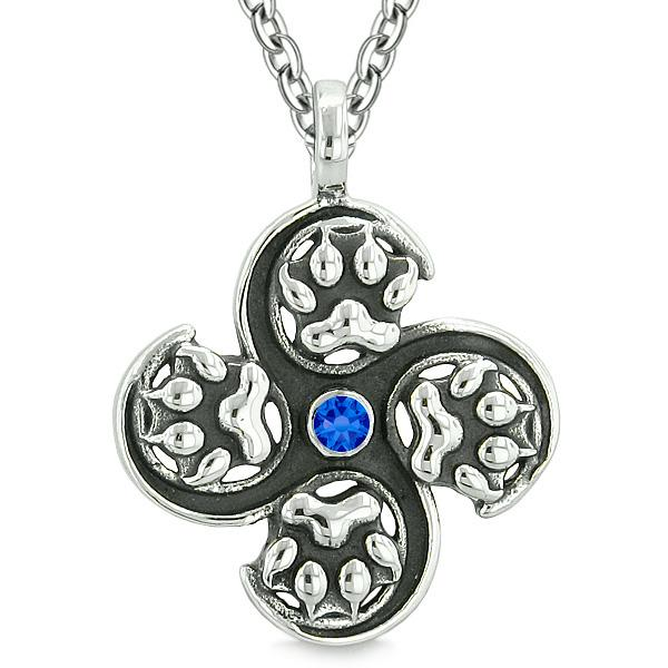 Supernatural Wild Wolf Paw All Forces of Nature Powers Amulet Royal Blue Crystal Pendant Necklace