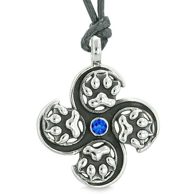 Supernatural Wild Wolf Paw All Forces Nature Powers Amulet Royal Blue Crystal Pendant Necklace