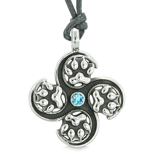 Supernatural Wild Wolf Paw All Forces of Nature Power Amulet Sky Blue Crystal Pendant Necklace
