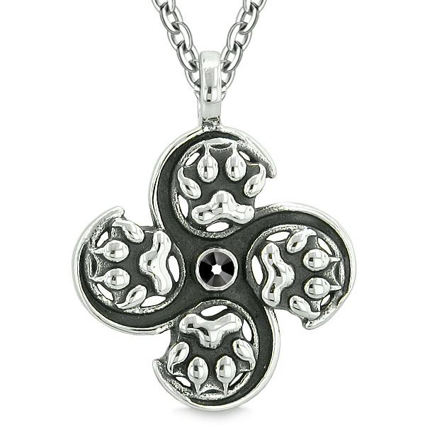 Supernatural Wild Wolf Paw All Forces of Nature Powers Amulet Jet Black Crystal Pendant Necklace