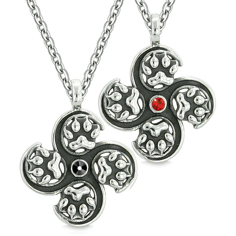 Supernatural Wolf Paw Amulet Powers Love Couples Best Friends Black Red Crystals Pendant Necklaces