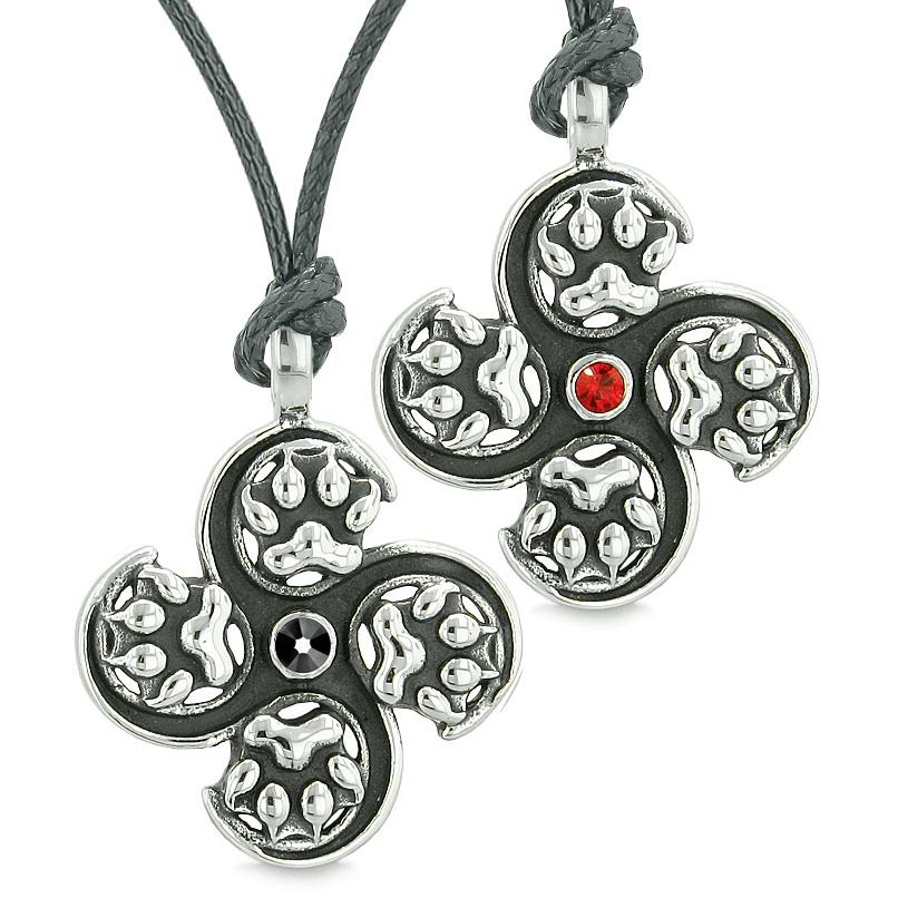 Supernatural Wolf Paw Amulet Powers Love Couples or Best Friends Black Red Crystals Necklaces