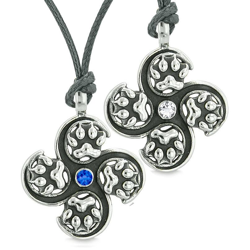 Supernatural Wolf Paw Amulet Powers Love Couples Best Friends White Blue Crystals Necklaces