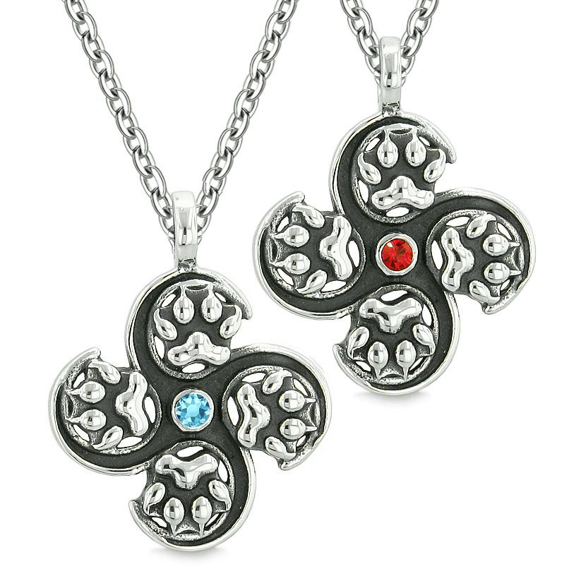 Supernatural Wolf Paw Amulet Powers Love Couples or Best Friends Red Sky Blue Crystals Necklaces