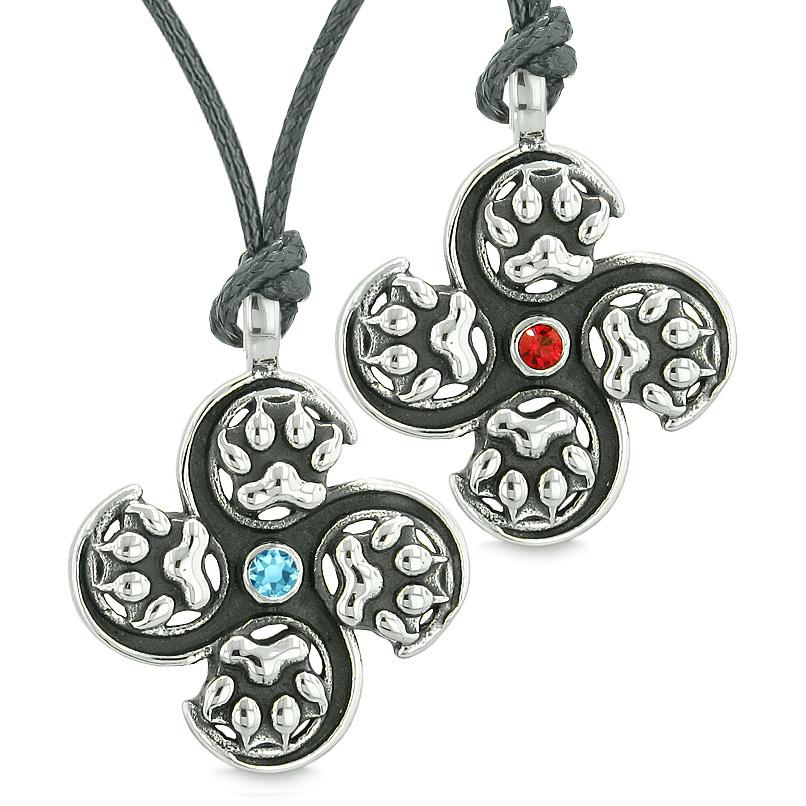 Supernatural Wolf Paw Amulet Powers Love Couples Best Friends Red Sky Blue Crystals Necklaces