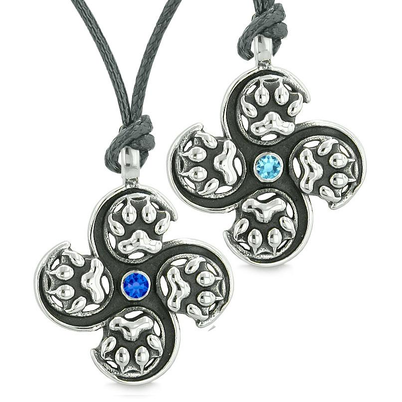 Supernatural Wolf Paw Amulet Powers Love Couple Best Friends Royal Sky Blue Crystals Necklaces
