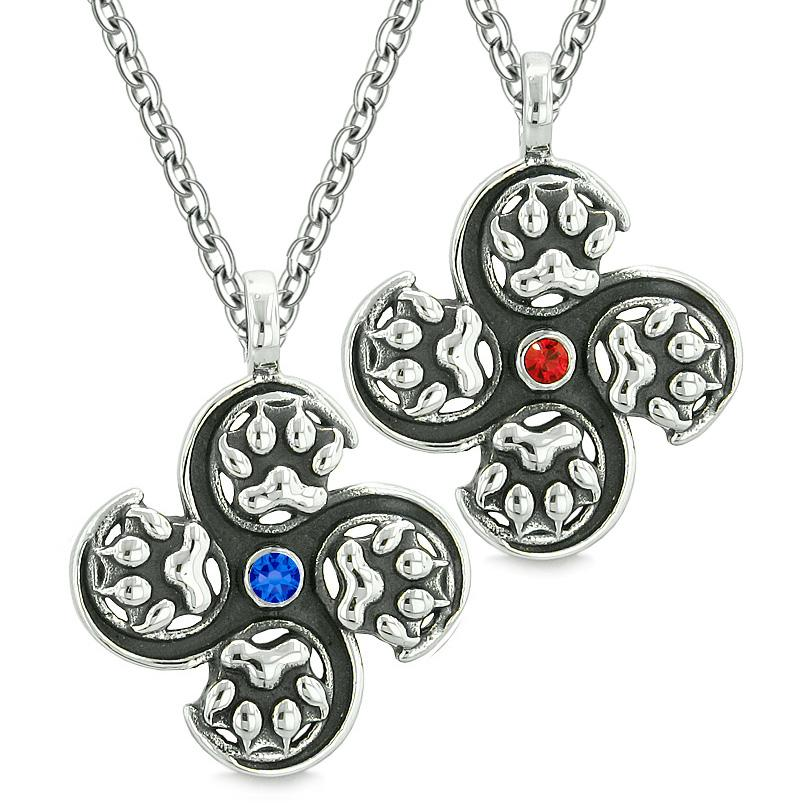 Supernatural Wolf Paw Amulet Powers Love Couples Best Friends Red Blue Crystals Pendant Necklaces